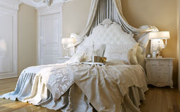 Bedrooms Baroque style. 3d images Stock Photos