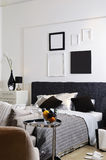 Bedrooms are decorated with white and perfectly si stock image