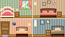 Bedrooms. Four different bedrooms and bed Stock Photo