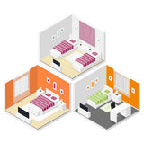 Bedrooms isometric icon set Royalty Free Stock Images