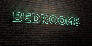 BEDROOMS -Realistic Neon Sign on Brick Wall background - 3D rendered royalty free stock image Stock Photos