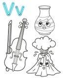Bedruckbare F?rbungsseite f?r Kindergarten und Vorschule Karte f?r Studie Englisch Vektormalbuchalphabet Zeichen V Vase, lizenzfreie abbildung