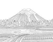 Bedruckbare Farbtonseite für Erwachsene mit Berglandschaft, See, Blumenwiese, Wald, Bäume Hand gezeichneter Vektor Stockfotografie