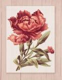 Bedruckbare Weinleseshabby-chic-stil-Blume auf Holz maserte Hintergrundrahmen stock abbildung