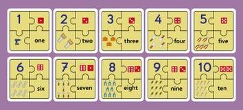 Bedruckbare Zählungspuzzlespiele, Zahlstreifen-Puzzlespielarbeit bearbeitet das Puzzlespiel und zählt nummeriert 1 Spiel 10, Stockfoto