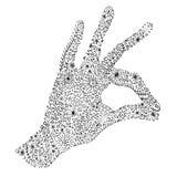Bedruckbare zentangle Hand gezeichnetes Gekritzel mit linken Palme und den Fingern im OKAYzeichen Blumen, Strudel und Reben als D Stockbild
