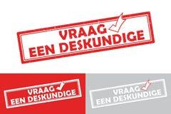 Bedruckbarer niederländischer Geschäftsaufkleber/-stempel der Experten Stockbild