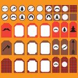 Bedruckbarer Satz Weinlese Holzfäller-Parteielemente Schablonen, Aufkleber, Ikonen und Verpackungen Stockfotografie