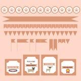 Bedruckbarer Stammes- Satz Weinlesehundeparteielemente Schablonen, Aufkleber, Ikonen und Verpackungen Stockbild
