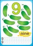 Bedruckbares Arbeitsblatt für Kindergarten und Vorschule Übungen für das Schreiben von Zahlen Heller Gemüseerntepaprikapfeffer, K stock abbildung