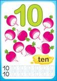 Bedruckbares Arbeitsblatt für Kindergarten und Vorschule Übungen für das Schreiben von Zahlen Heller Gemüseerntepaprikapfeffer, K lizenzfreie abbildung