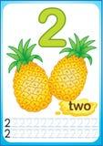 Bedruckbares Arbeitsblatt für Kindergarten und Vorschule Ernte von reifen Beeren und von Früchten Wir zählen und schreiben Zahlen vektor abbildung