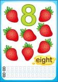 Bedruckbares Arbeitsblatt für Kindergarten und Vorschule Ernte von reifen Beeren und von Früchten Wir zählen und schreiben Zahlen lizenzfreie abbildung