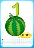 Bedruckbares Arbeitsblatt für Kindergarten und Vorschule Ernte von reifen Beeren und von Früchten Wir zählen und schreiben Zahlen stock abbildung