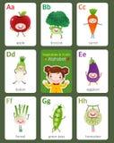 Bedruckbares flashcard englisches Alphabet von A zu H mit Früchten und vektor abbildung