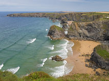 Bedruthan Beach in Cornwall Stock Photo