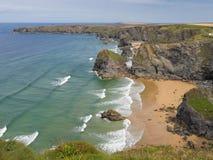 Bedruthan Beach in Cornwall Stock Photo