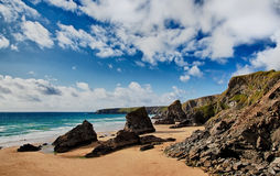 Bedruthan Steps beach in Cornwall UK Stock Photography