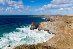 Bedruthan Steps Cornwall England UK Cornish north coast near Newquay on a beautiful sunny blue sky day Royalty Free Stock Images
