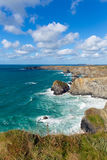 Bedruthan Steps Cornwall England UK Cornish north coast near Newquay on a beautiful sunny blue sky day Royalty Free Stock Photography