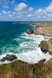 Bedruthan Steps Cornwall England UK Cornish north coast near Newquay on a beautiful sunny blue sky day Stock Photography