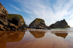 Bedruthan Steps Cornwall Rock Formations Stock Photo