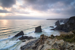 Bedruthan Steps in Cornwall Stock Images