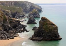 Bedruthan Steps at High Tide Stock Image