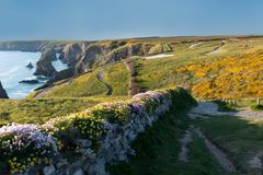 Bedruthan Steps landscape in Corwal United Kingdom royalty free stock image