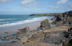Bedruthan Steps. Looking North, Cornwall Royalty Free Stock Image