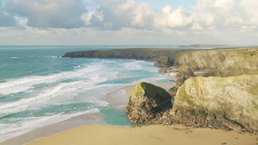 Bedruthan Steps at Low Tide stock footage