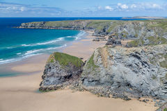 Bedruthan Steps stunning beach and stacks Royalty Free Stock Photo
