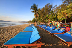 beds on the beach Stock Image