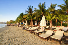 Beds on the beach in huahin, Thailand Stock Photography