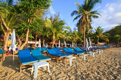 beds on the beach in huahin, Thailand Royalty Free Stock Photo