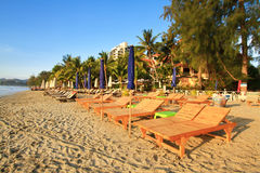 beds on the beach in huahin, Thailand Stock Photos