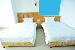 Beds in double room Royalty Free Stock Photography
