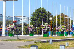 Beds of flowers next to the Moscow Circus Stock Photos