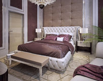 Beds and headboards in a luxurious classic style. 3d visualization Royalty Free Stock Photography