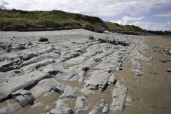 Beds of Jurassic lias stone on Doniford beach, Exmoor, UK Stock Photos