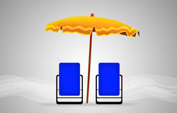 Beds and umbrella on a beach Royalty Free Stock Images