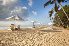 Beds and umbrella on a tropical beach. Bali Stock Photography