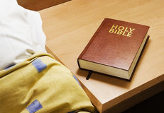 Bedside Bible. A bible in a hotel room Royalty Free Stock Images