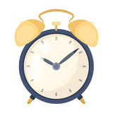 Bedside clock icon in cartoon style isolated on white background. Sleep and rest symbol stock vector illustration. royalty free illustration