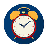 Bedside clock icon in flat style isolated on white background. Sleep and rest symbol stock vector illustration. royalty free illustration