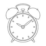 Bedside clock icon in outline style isolated on white background. Sleep and rest symbol stock vector illustration. Stock Photos
