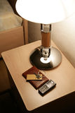 Bedside-table in hotel Stock Photos