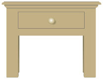 Bedside table with one drawer. Classical bedside table with one drawer. Vector illustration Stock Photos