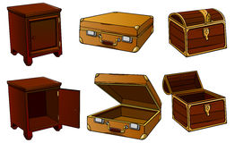 Bedside-table, suitcase, chest Stock Image