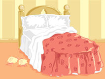 Bedtime. Hand drawn illustration of a comfortable bed with white pillows and sheets and some slippers on the carpet Royalty Free Stock Photography